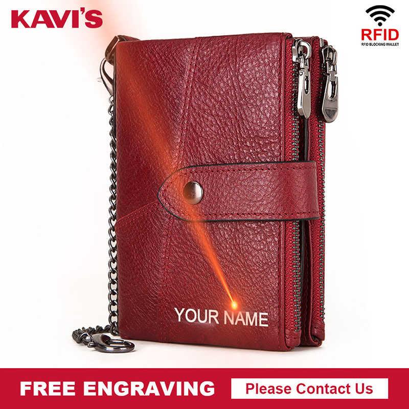 Kavis100 % de couro genuíno livre gravura carteira homens cavalo louco carteiras moeda bolsa curto masculino saco dinheiro rfid walet senhora perse