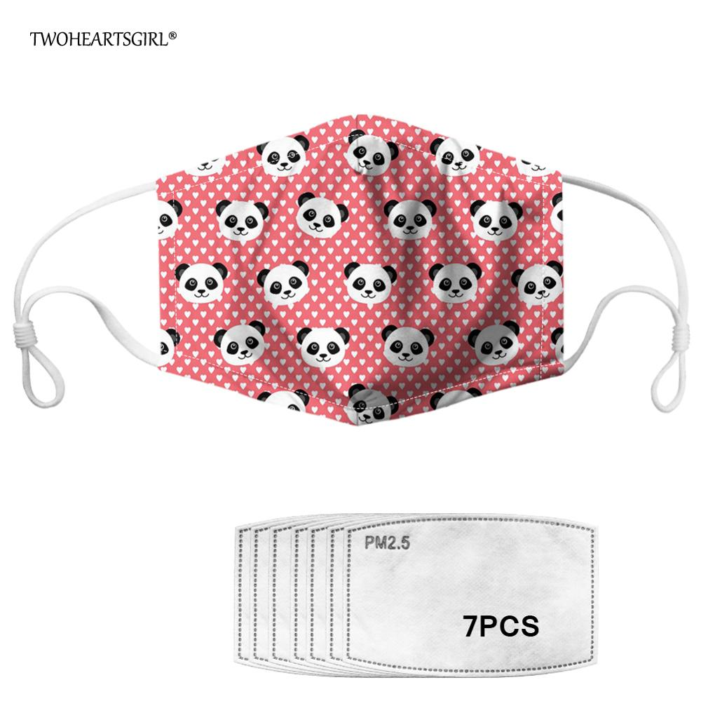 Twoheartsgirl Cute Pink Panda Print Dustproof Face Mask With 7 Filters Breathable Germ Protection Mouth Mask Washable Kids Mask
