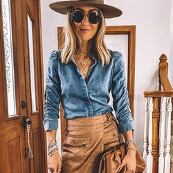 Women's Autumn Solid Color Denim Shirt Blouse Casual Slim Tops Spring Puff Sleeve Blouses Ladies Nine Quarter Sleeve Denim Top