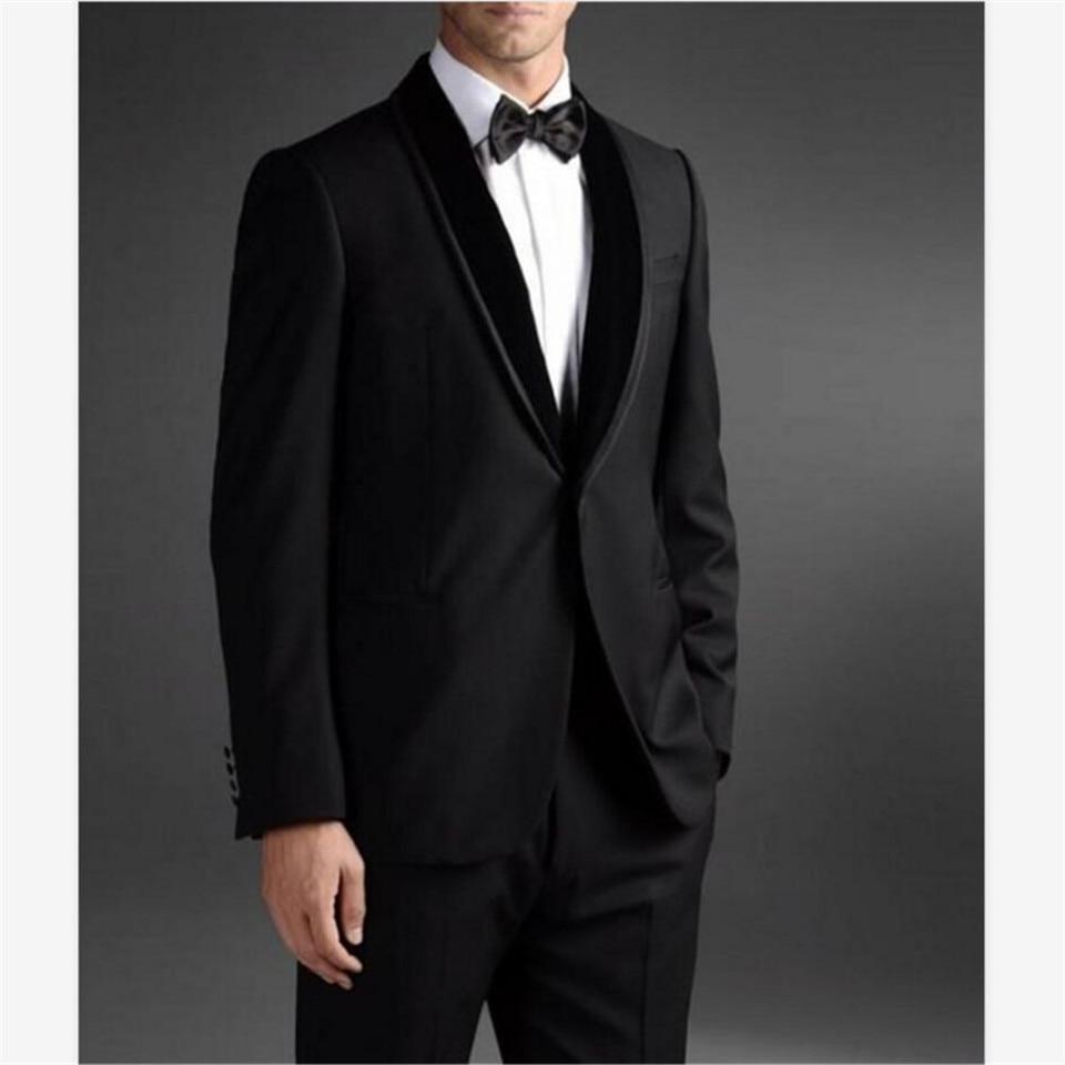 New Men's Suit Smolking Noivo Terno Slim Fit Easculino Evening Suits For Men Black Groom Tuxedos Best Man Blaze (Jacket+Pants)
