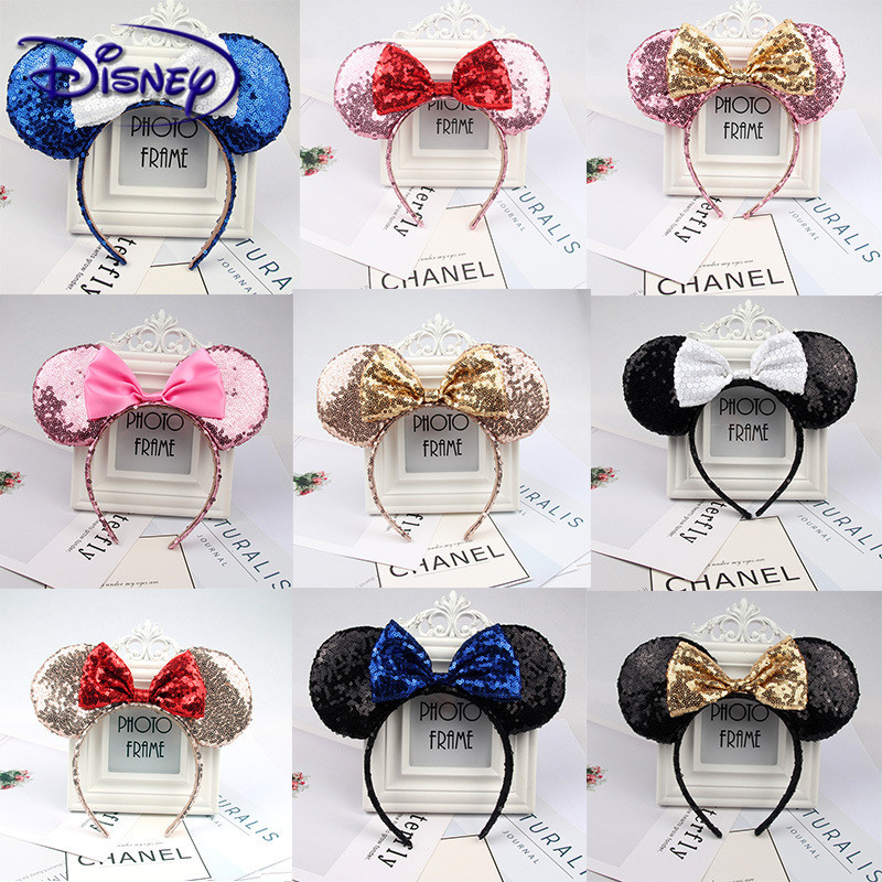 Disney Europe And The United States Hair Accessories Headband High Quality Sequins Bow Headband Mickey Ears Headband Minnie