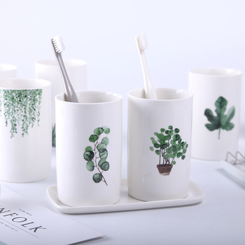 Nordic Style Ceramic Mouthwash Cup Brush Holder In Bathroom  Toothbrush Holder Cups Plastic Water Cup Bathroom Accessories Set 3pcs bathroom accessories toothbrush holder ceramic green plant couple toothpaste cup holder with bamboo tray nordic cups set