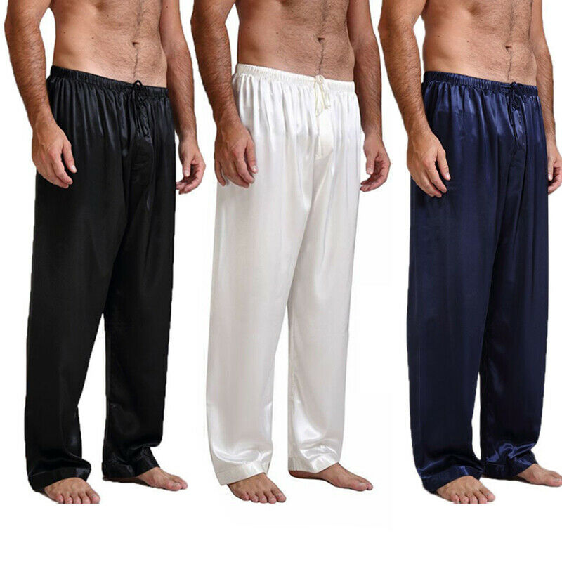 Men Nightwear Sleepwear Bath Pajamas Satin Silk Long Lounge Pants Pajamas Man Loose Solid Sleep Pants