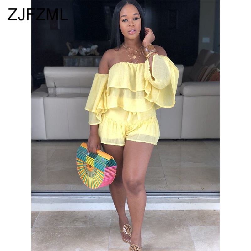 Sexy Two Piece Sweatsuits Summer Clothes For Women Slash Neck Ruffles Sleeve Crop Top+  Biker Shorts Casual 2 Piece Matching Set