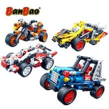 BanBao hızlı araba yarışı araç geri çekin teknik tuğla eğitim yapı taşları çocuk yaratıcı Model oyuncaklar boys için hediye