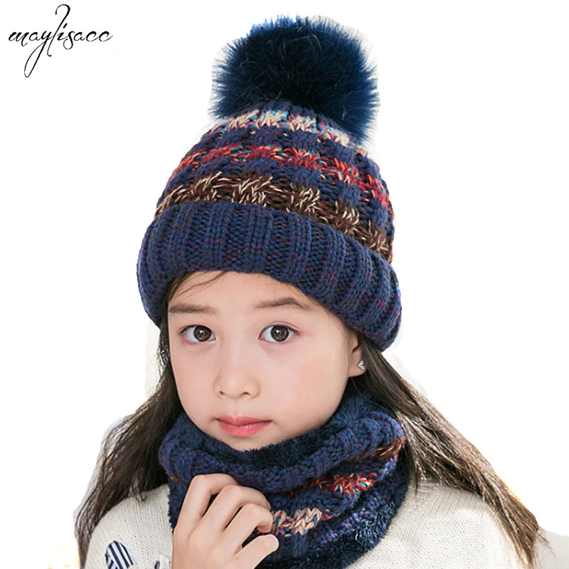 Maylisacc 4-12 Years Old Girls Boys Scarves And Hat 2Pcs Set  Winter Hat Scarf Snood Set Winter Set Striped Pompom Hat Children