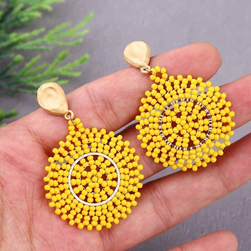 2020 Fashion Women's Handmade Resin Beaded Earrings Korean Style Female Geometric Round Dangle Earring For Women Party Jewelry