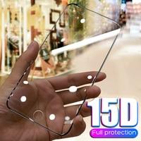 Protector de cristal templado 15D para iPhone, curvo Protector de pantalla para iPhone 6, 6s, 7, 8 Plus, X, 10, XR, XS, 11, 12 Pro MAX