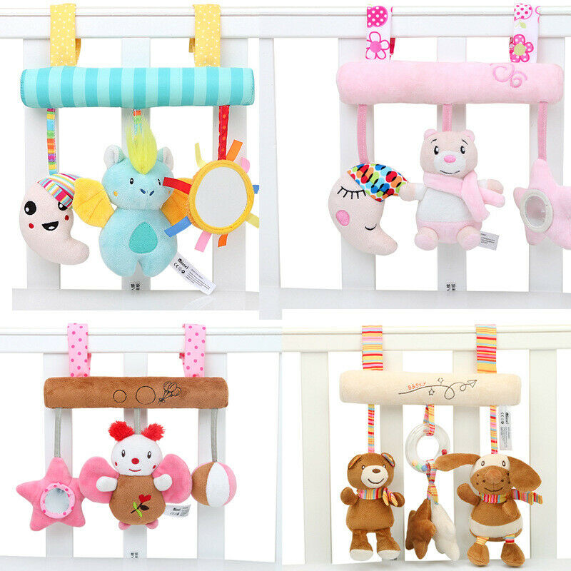 NEW Kid Baby Crib Cot Pram Hanging Bear Rattle Bed Stroller Bell Plush Toy