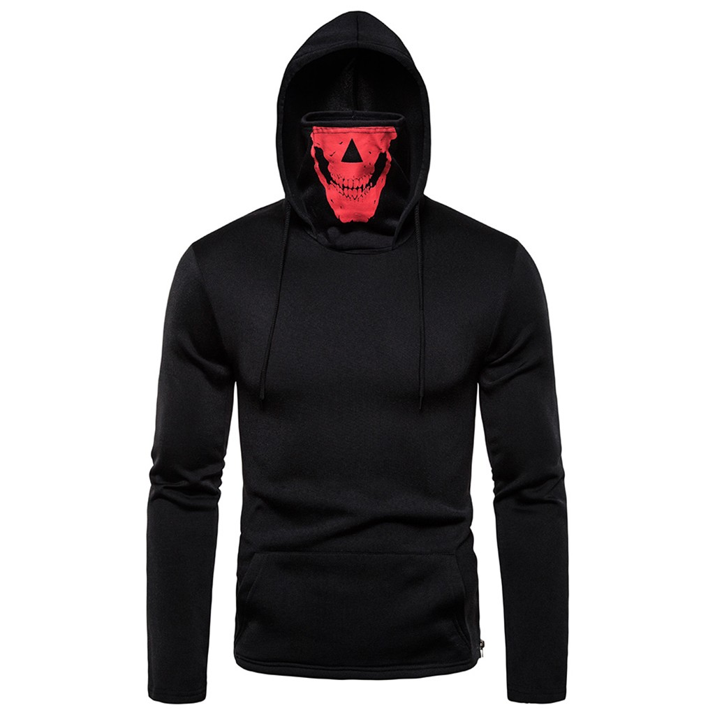 UK Men/'s Drawstring Zipper Skull Mask Hoodie Sweatshirt Hooded Tops Streetwear