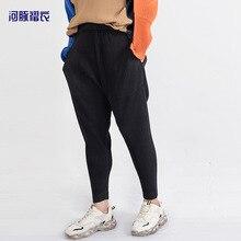 Fashion brand sports casual pants men's sanzhai pleated hip hop crotch versatile Harem Pants fashion casual elastic pants