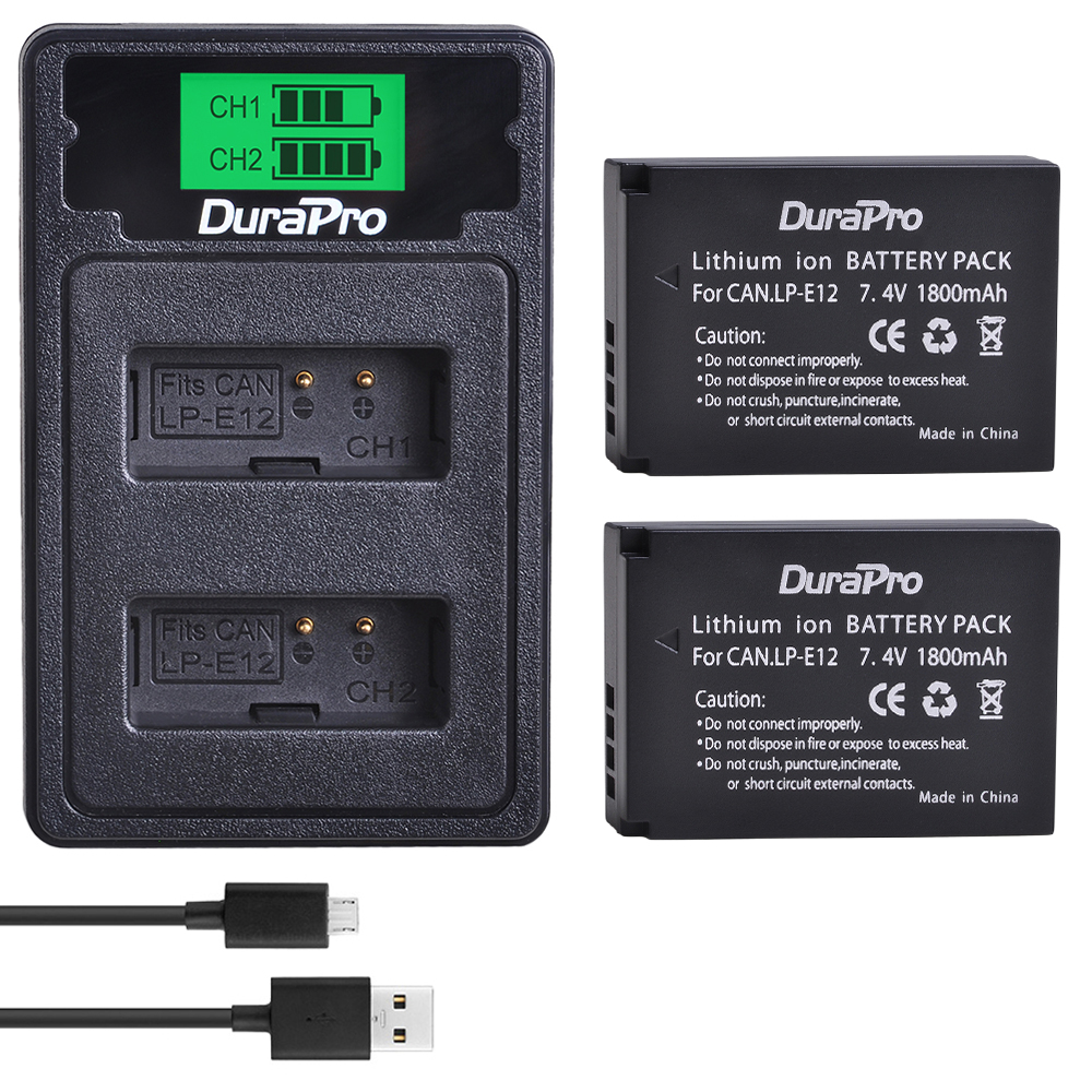 DuraPro 2x 1800mAh LP-E12 LP E12 Camera <font><b>Battery</b></font> + LCD USB Charger For <font><b>Canon</b></font> EOS M50 M100 <font><b>100D</b></font> Kiss X7 Rebel SL1 DSLR Camera image