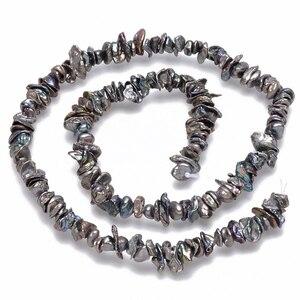 Image 3 - Boulettes de perles Keshi, nucléées, bobines de perles, DarkSlateGray environ 5 ~ 10x4 ~ 8mm, trou: 0.5mm, environ 169 pièces/brin, 14.96 pouces