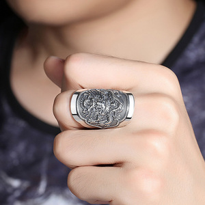 Image 5 - BALMORA 990 Pure Silver Kirin Animal Open Rings for Men Vintage Fashion Thai Silver Ring Gift Party Jewelry Anillos