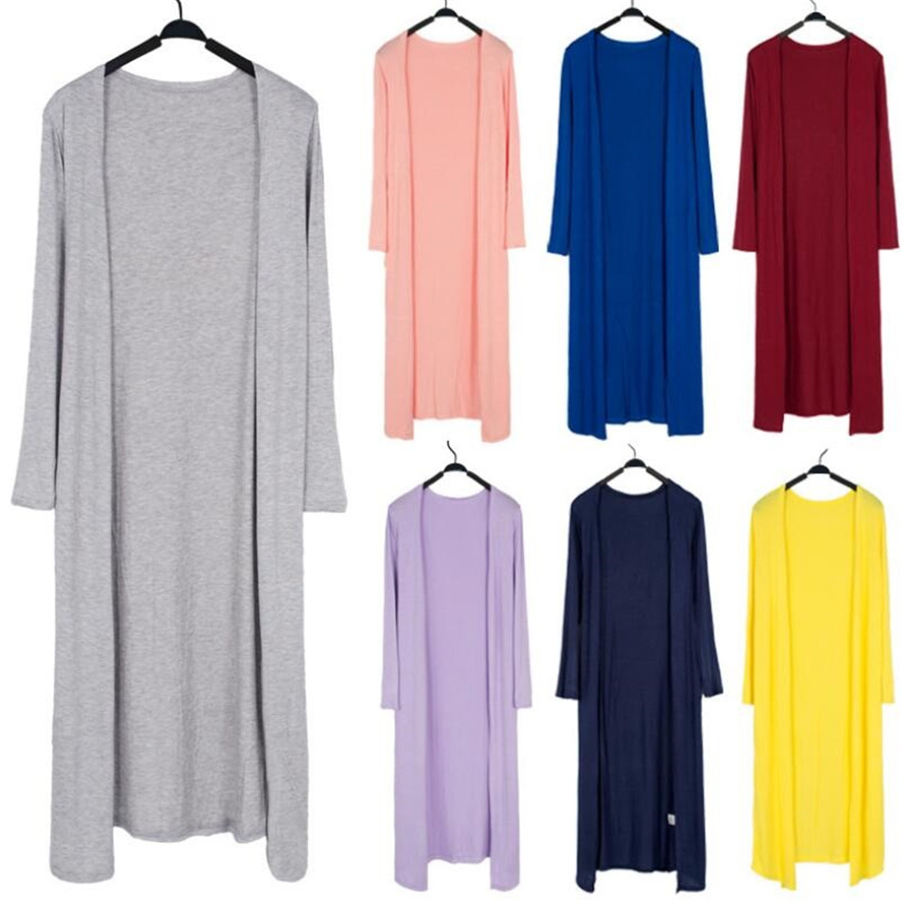 Summer Autumn 12 Colors Women Modal Long Cardigan Female Cotton Sweater Cardigans Long Sleeve Women Casual Coat Ladies Outerwear 2