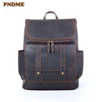 PNDME vintage genuine leather large capacity men's backpack vintage designer travel crazy horse cowhide women's computer bagpack фото