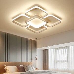 Image 5 - Современные квадратные потолочные светодиодные светильники, домашние лампы белого и кофейного цвета для гостиной, спальни, 110 260 В переменного тока