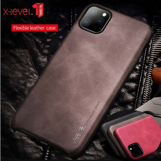 For iPhone 11 Pro Max 2019 Case, X Level Luxury Vintage Leather Cover Case for iPhone 11 Pro 5.8 / 6.1 Back Case Brown