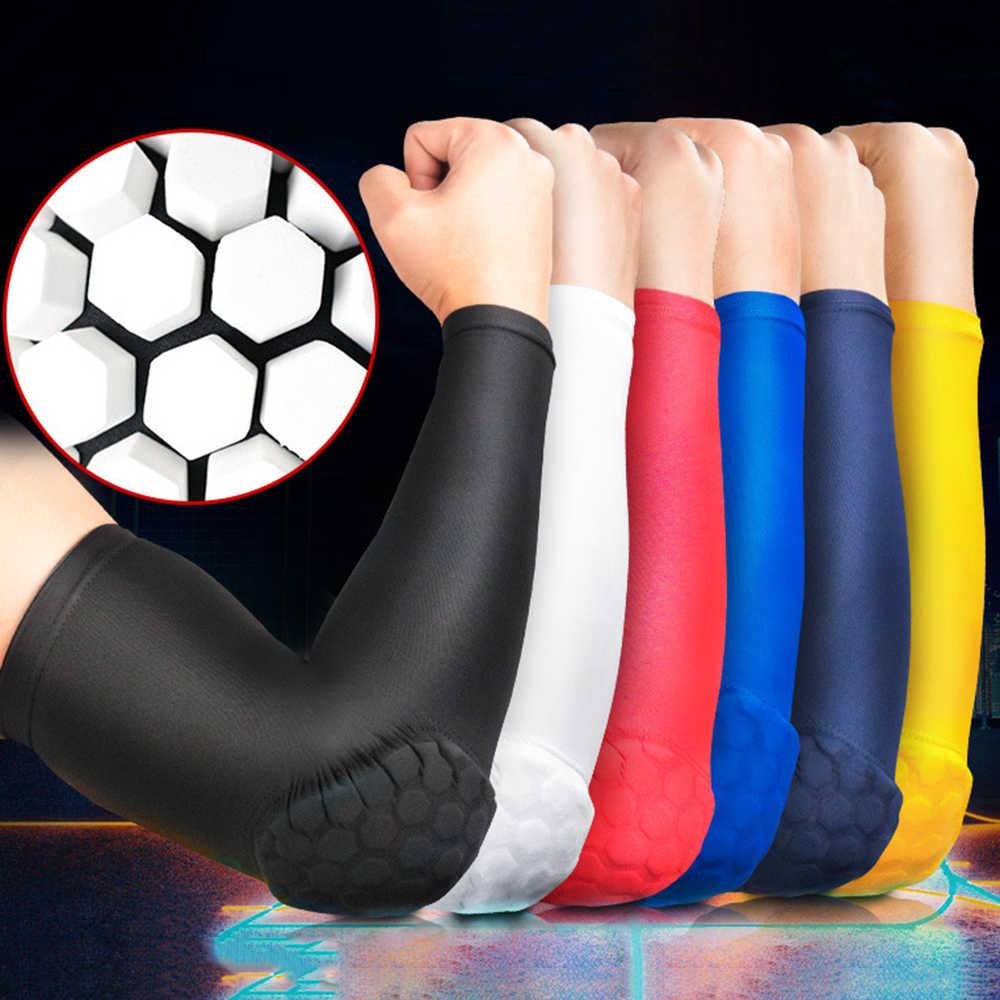 Manga para cotovelo esportiva, cotoveleira anti-colisão para vôlei, hóquei, basquete, cotovelo, pressão, cotovelo, proteção uv, manga de gelo