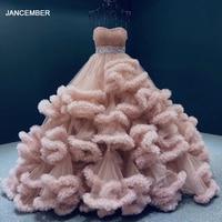 J6662 jancember african formal dresses strapless lace flowers custom colors evening dress evening gown вечернее платье длинное