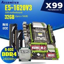 Atermiter X99 D4 PC4 マザーボードreccセットxeon E5 1620 V3 LGA2011 3 cpu 2 個のx 16 ギガバイト = 32 ギガバイト 2400mhz reg ecc DDR4 メモリ