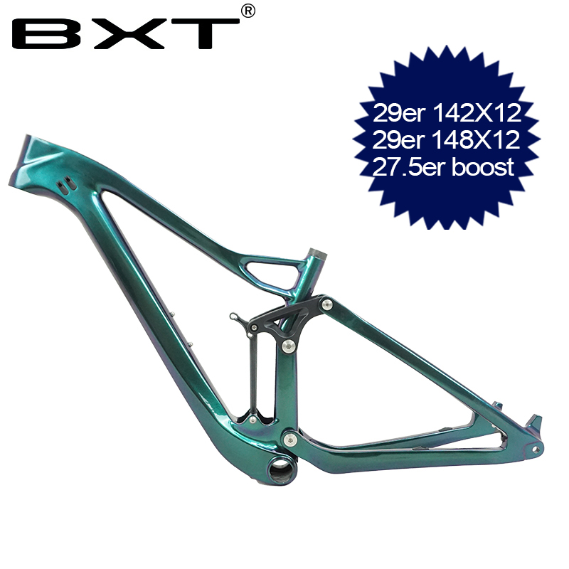 2019 Full Suspension Carbon Mountain Bike Frame 27.5er/29er 148mm Boost Suspension Bike Frame 142mm MTB Carbon Bicycle Frame