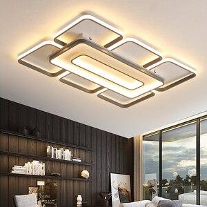 Image 3 - Современные квадратные потолочные светодиодные светильники, домашние лампы белого и кофейного цвета для гостиной, спальни, 110 260 В переменного тока