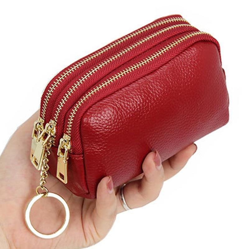 Портативный женщин кожаный чехол кошелек с 3 слоями на молнии большой Ёмкость чехол износостойкие карты монет Ключ Держатель кошелек 13x5.5x7.5CM|Кошельки для монет|   | АлиЭкспресс