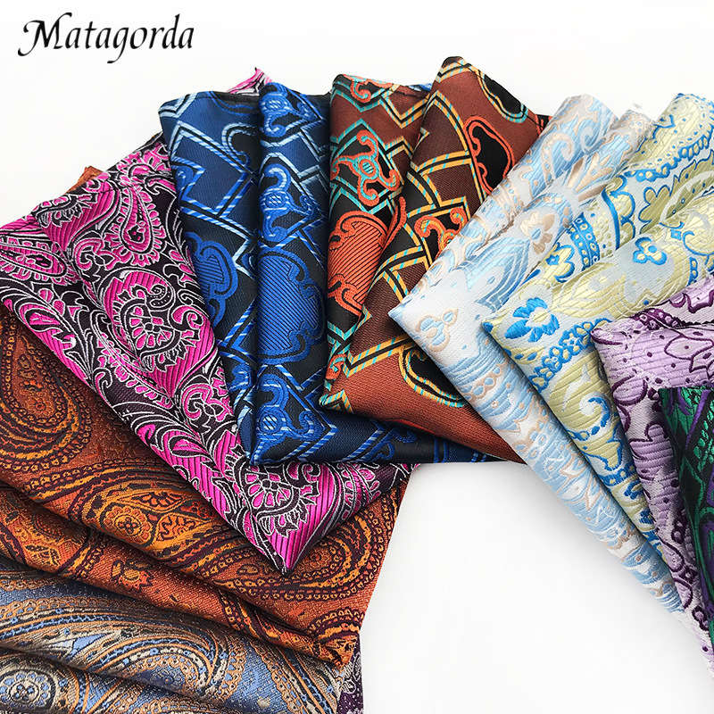 Matagorda 25*25CM Hanky 100% Silk Men Pocket Square Handkerchief Men Accessories Paisley Cravat Paisley Cashew Tie Banquet Party