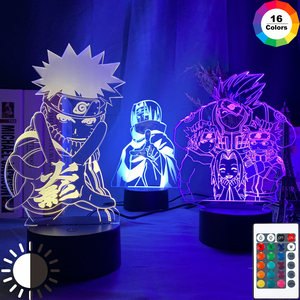 Anime Naruto Uzumaki Led Night Light Team 7 Sasuke Kakashi Hatake Kids Bedroom Nightlight Itachi Uchiha 3d Lamp Child Xmas Gift(China)