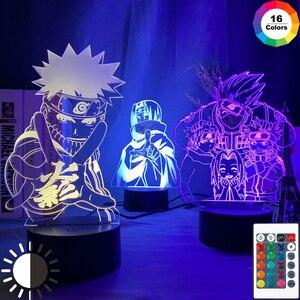 Anime Naruto Uzumaki Led Night Light Team 7 Sasuke Kakashi Hatake Kids Bedroom Nightlight Itachi Uchiha 3d Lamp Child Xmas Gift(China)