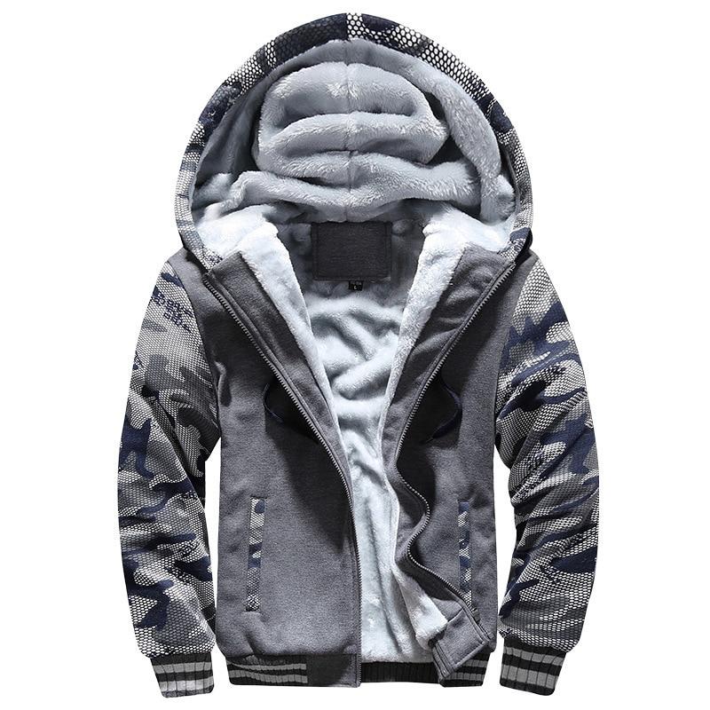 Camo Sleeve Men Hoodies Winter Thick Warm Fleece Zipper Men Hoodies Coat Sportwear Male Streetwear Hoodies Sweatshirts Jacket