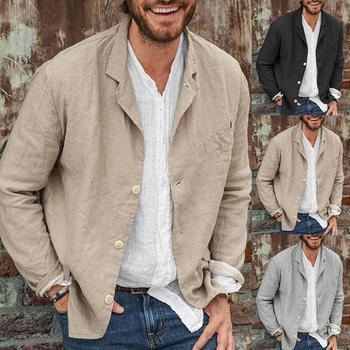 Plus Size S-3XL Men Autumn Casual Solid Color Long Sleeve Single-breasted Blazer Coat Male jacket men streetwear male clothing
