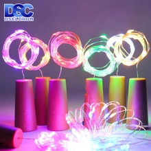 Luces LED para botella de vino, 2M, 20LED en forma de corcho, alambre de cobre, Mini Cadena de luces de colores para interiores y exteriores, luces de Navidad para boda