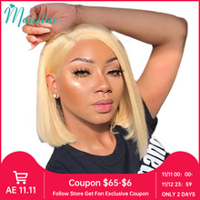 Monstar 13x1 T Lace Part Wig 613 Blonde Short Bob Wigs Remy Brazilian Straight 1B 613 Ombre Lace Front Human Hair Wigs for Women