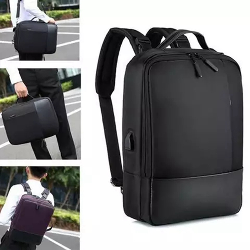 LOOZYKIT 2019 Fashion Men School Office Laptop Bag Soft With USB Charging Port Zipper Waterproof Anti-theft Casual Backpack