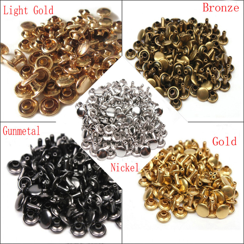500sets Double Cap Sewing Metal Rivets Punk Spike Snap Fastener Press Button Craft Strap Rivets 12mm For Leather