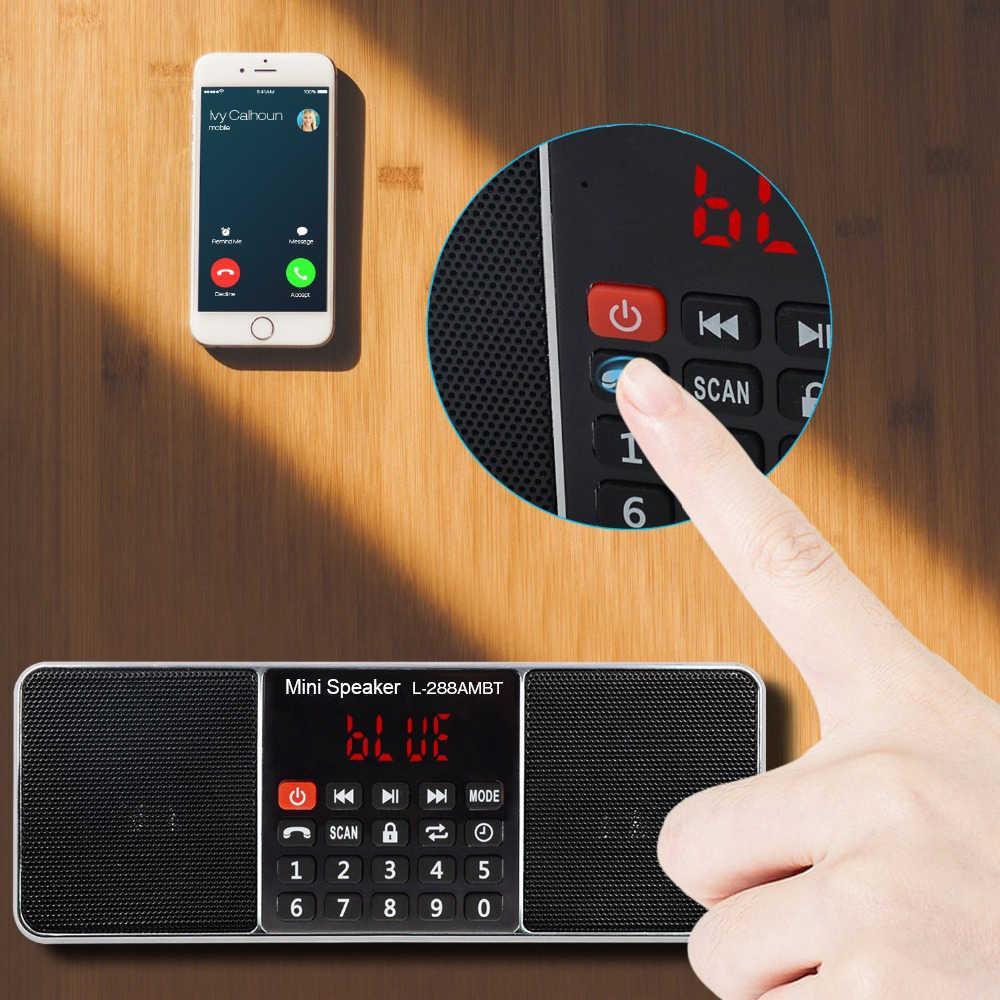 Lefon Radio portátil Digital AM FM Altavoz Bluetooth reproductor de MP3 estéreo tarjeta TF/SD unidad USB llamada manos libres pantalla de visualización LED