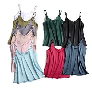 Image 3 - Spaghetti Strap Top Women Halter V Neck Basic White Cami Sleeveless Satin Silk Tank Tops WomenS Summer 2020 Camisole Plus Size