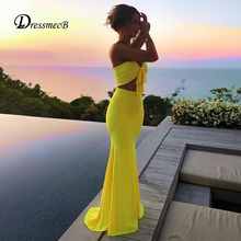 Dressmecb Elegant Two Piece Set Bow Strapless Crop Top And Maxi Skirts Bodycon Sexy 2 Piece Set Womne 2020 Summer Oufits