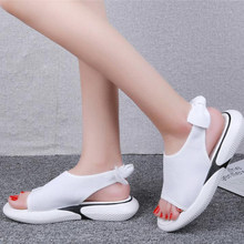 Beach Party Fashion Woman Sandals Sport Style Bow Decoration with Platform Shoes Two Ways Wear Flat Sandal(China)