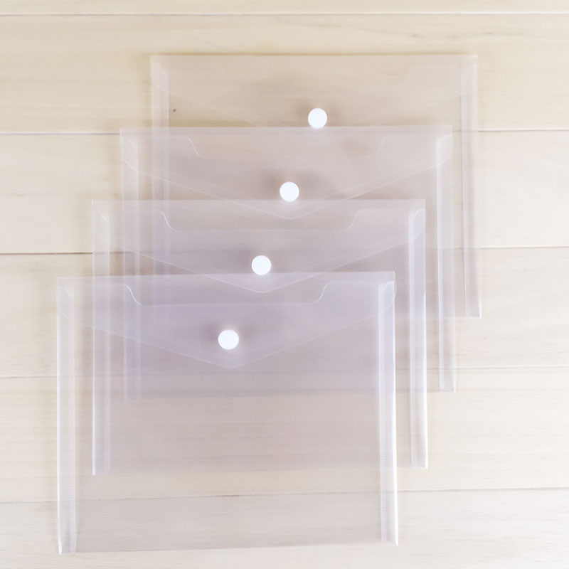 5pcs Transparent A5 Folder File BagPlastic Document Snap Button Bag Paper Storage Binder Office School Supply