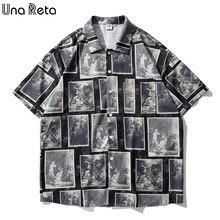 Una reta 2021 verão nova impressão turn-down colarinho camisa masculina hip hop topo solto camisa masculina harujuku camisas para homem