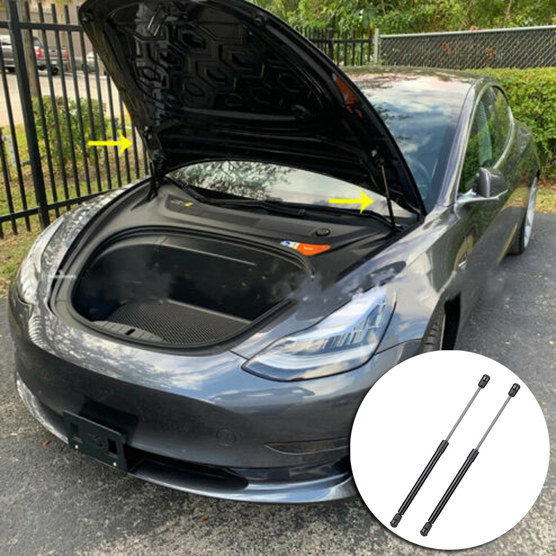 2 pcs black car Front Trunk Struts high quality Automatic Luggage Lift Support Pneumatic Front Trunk Struts For Tesla Model 3