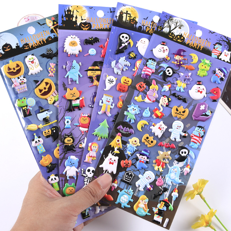 Creative Funny Halloween Pumpkin Witch PVC 3D Sticker Decoration Diary Scrapbooking Label Sticker Kawaii Stationery Sticker