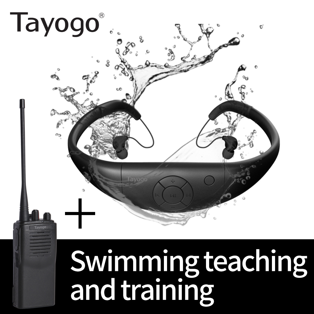 Tayogo IPX8 Wirelless Transmitter For Swimming Training With FM Receiver Waterpeoof Long Distance Clear Vioce For Swim Trainning