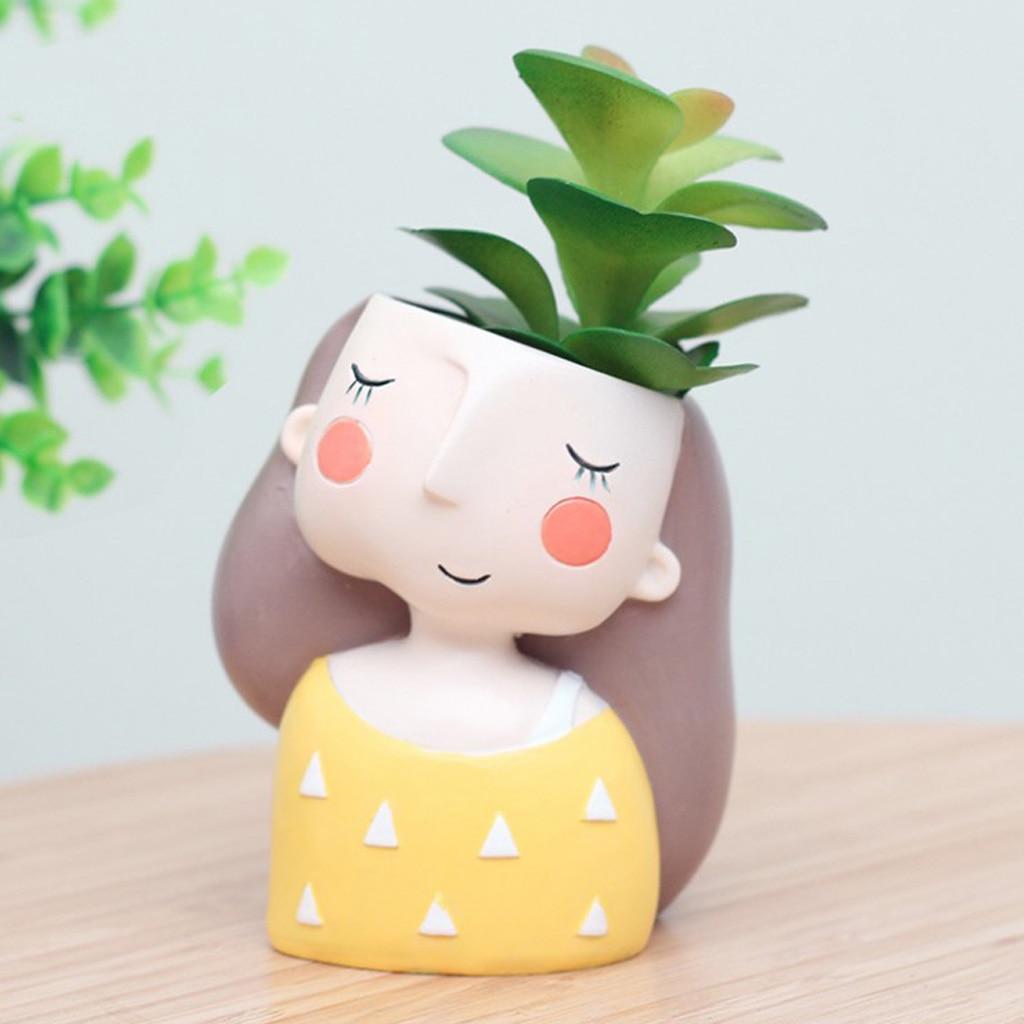 Cute Girl Flowerpot Succulent Container Resin Flower Vase Home Garden Decor