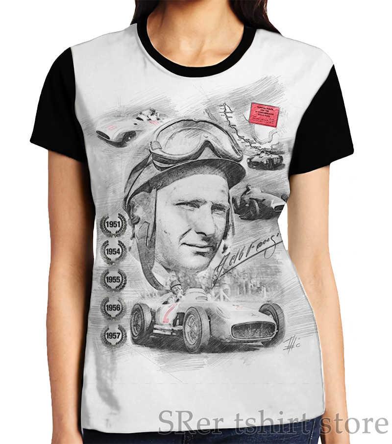 Engraçado impressão homens t shirt mulheres Tops tee Juan Manuel Fangio Gráfico T-Shirt dos homens O-pescoço Manga Curta Casual t-shirts