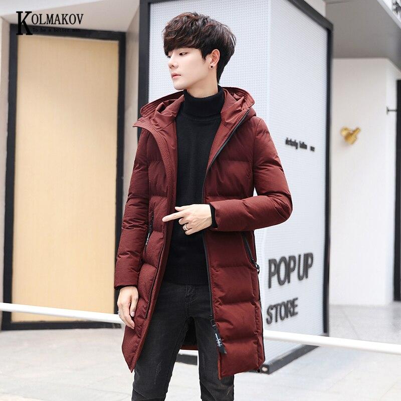 KOLMAKOV 2020 New Winter Korean Style Men Slim Fit Long Cotton-padded Coat Hooded Thick Overcoat Male 3 Color Size M-3XL