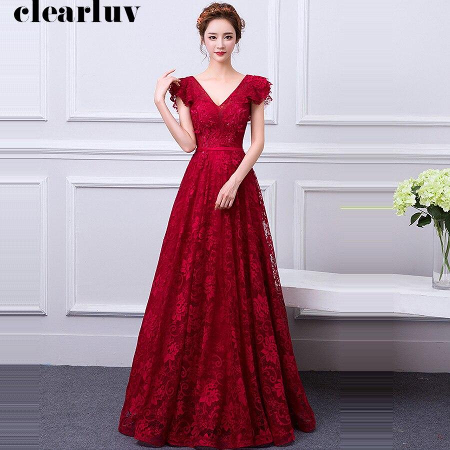 Backless Evening Gowns Plus Size V-Neck Prom Dresses Robe De Soiree Y059 2019 Burgundy Elegant Lace Pregnant Women Party Dresses